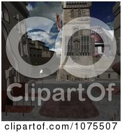Clipart 3d Andoria Courtyard Scene Royalty Free CGI Illustration