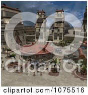 Clipart 3d Andoria Garden Courtyard Architecture Scene 2 Royalty Free CGI Illustration