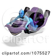3d Blue Fantasy Female Alien On A Space Motorcycle 1