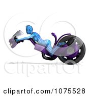 3d Blue Fantasy Female Alien On A Space Motorcycle 2