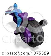 Clipart 3d Blue Fantasy Female Alien On A Space Motorcycle 3 Royalty Free CGI Illustration