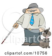 Blind Man With A Cane And Guide Dog
