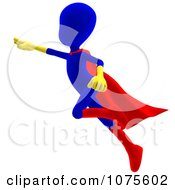 Clipart 3d Blue Super Hero Person Flying Royalty Free CGI Illustration
