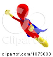 Clipart 3d Red Super Hero Person Flying Royalty Free CGI Illustration