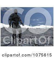 Clipart 3d Futuristic Super Hero In A Black Nanosuit Against A Blue Sky Royalty Free CGI Illustration by Ralf61