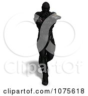 Clipart 3d Futuristic Super Hero Shooting In A Black Nanosuit 10 Royalty Free CGI Illustration by Ralf61
