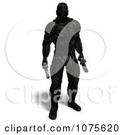 Clipart 3d Futuristic Super Hero Shooting In A Black Nanosuit 9 Royalty Free CGI Illustration by Ralf61