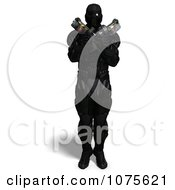 Clipart 3d Futuristic Super Hero Shooting In A Black Nanosuit 7 - Royalty Free CGI Illustration by Ralf61
