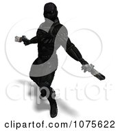 Clipart 3d Futuristic Super Hero Shooting In A Black Nanosuit 8 Royalty Free CGI Illustration by Ralf61