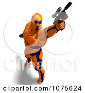 Clipart 3d Futuristic Super Hero Shooting In An Orange Nanosuit 5 Royalty Free CGI Illustration by Ralf61