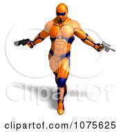 Clipart 3d Futuristic Super Hero Shooting In An Orange Nanosuit 4 Royalty Free CGI Illustration by Ralf61