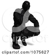 Clipart 3d Futuristic Super Hero In A Black Nanosuit 5 Royalty Free CGI Illustration