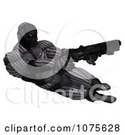 Clipart 3d Futuristic Super Hero Shooting In A Black Nanosuit 2 Royalty Free CGI Illustration by Ralf61