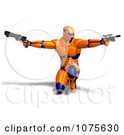 Clipart 3d Futuristic Super Hero Shooting In An Orange Nanosuit 3 Royalty Free CGI Illustration
