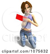 Clipart 3d Brunette Woman Kneeling And Holding A Red Envelope Royalty Free CGI Illustration
