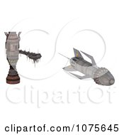 Clipart 3d Spaceship Leaving A Landing Pod Royalty Free CGI Illustration by Ralf61