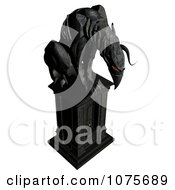 Clipart 3d Black Gargoyle Statue With Red Eyes Royalty Free CGI Illustration by Ralf61