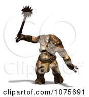 Clipart 3d Troll Swinging A Spiked Club Royalty Free CGI Illustration by Ralf61