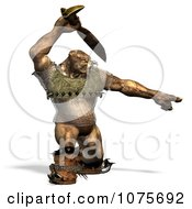 Clipart 3d Troll Holding Up A Sword Royalty Free CGI Illustration by Ralf61
