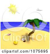 Clipart Palm Tree On A Tropical Island 2 Royalty Free CGI Illustration