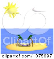 Clipart Hammock And Palm Trees On A Tropical Island Royalty Free CGI Illustration