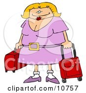 Traveling Blond Woman With Rolling Luggage At The Airport