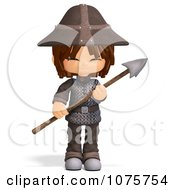 Clipart 3d Guard Boy With A Spear 4 Royalty Free CGI Illustration