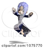 Clipart Asian Girl In A Blue Dress 1 Royalty Free CGI Illustration