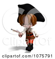 Clipart 3d Pirate Boy Running With A Pistol Royalty Free CGI Illustration