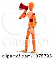 Clipart 3d Orange Mannequin Announcing With A Megaphone 1 Royalty Free CGI Illustration