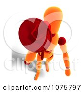 Clipart 3d Orange Mannequin Announcing With A Megaphone 2 Royalty Free CGI Illustration