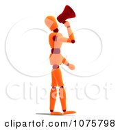 Clipart 3d Orange Mannequin Announcing With A Megaphone 3 Royalty Free CGI Illustration
