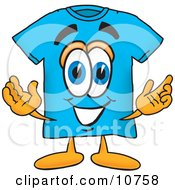 Blue Short Sleeved T Shirt Mascot Cartoon Character With Welcoming Open Arms