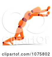 Clipart 3d Orange Mannequin Pushing Royalty Free CGI Illustration