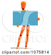 Clipart 3d Orange Mannequin Holding A Blue Sign 1 Royalty Free CGI Illustration