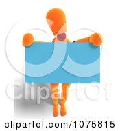 Clipart 3d Orange Mannequin Holding A Blue Sign 2 Royalty Free CGI Illustration