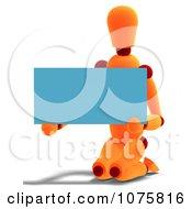 Clipart 3d Orange Mannequin Holding A Blue Sign 3 Royalty Free CGI Illustration