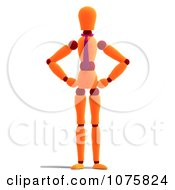 Clipart 3d Orange Mannequin With His Hands On His Hips Royalty Free CGI Illustration
