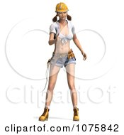 Clipart 3d Pinup Construction Worker Woman By A Ladder 1 Royalty Free CGI Illustration
