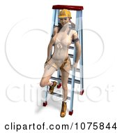Clipart 3d Pinup Construction Worker Woman By A Ladder 2 Royalty Free CGI Illustration