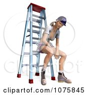 Clipart 3d Pinup Construction Worker Woman Sitting On A Ladder 1 Royalty Free CGI Illustration