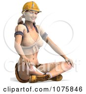 Clipart 3d Pinup Construction Worker Woman Sitting Indian Style Royalty Free CGI Illustration