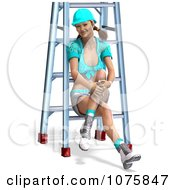 Clipart 3d Pinup Construction Worker Woman Sitting On A Ladder 2 Royalty Free CGI Illustration