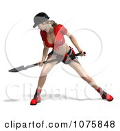 Clipart 3d Pinup Construction Worker Woman Shoveling Royalty Free CGI Illustration