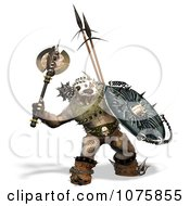 Clipart 3d Troll With Weapons And Armor Royalty Free CGI Illustration by Ralf61