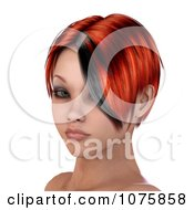 Clipart 3d Womans Face With Red Hair And A Black Streak Royalty Free CGI Illustration