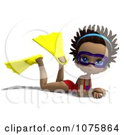 Clipart 3d Black Lifeguard Woman Wearing Fins And Goggles Royalty Free CGI Illustration