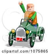 Clipart 3d Toy Man Driving A Car And Waving Royalty Free CGI Illustration by Ralf61