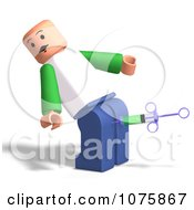 Clipart 3d Toy Man Getting A Shot In The Butt Royalty Free CGI Illustration