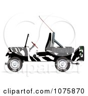 Clipart 3d Zebra Jeep Wrangler Convertible SUV Royalty Free CGI Illustration